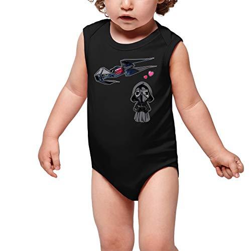 Star Wars grappige zwarte mouwloze baby rompler - Kylo Ren SD karikatuur en zijn TIE Silence Mini Drone (Star Wars Parodie) (Ref: 1094)