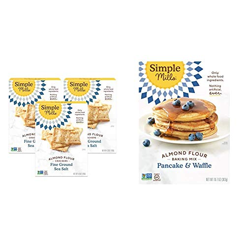 Simple Mills Almond Flour Crackers, Fine Ground Sea Salt, Gluten Free, Flax Seed, Sunflower Seeds, 3 Count & Almond Flour Pancake Mix & Waffle Mix, Gluten Free, Made with whole foods