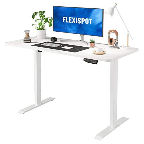 Flexispot EN1 Large Electric Stand Up Desk Computer Workstation 55 x 28 Inches Whole-Piece Desk Ergonomic Memory Controller Standing Height Adjustable Desk Top Base Primo(White Frame + 55