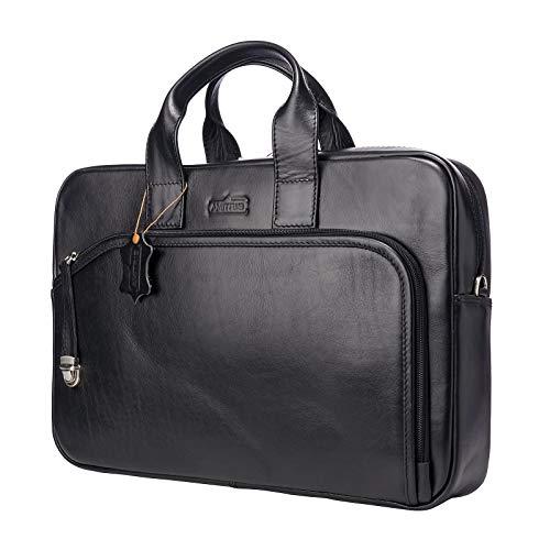 AMITRIS Damen/Herren echt Leder Laptoptasche bis 15.6 Zoll Umhängetasche Aktentasche Businesstasche Arbeitstasche Bürotasche 40x28x8 cm