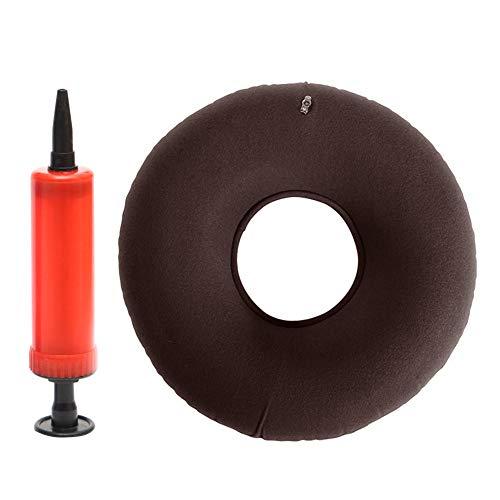 Cojín de anillo inflable, cojín redondo de vinilo para asiento de donut con bomba gratuita para hemorroides, pilas, dolores de coxis, postenfermería y cirugía, 13 × 5 pulgadas, marrón, Tamaño libre