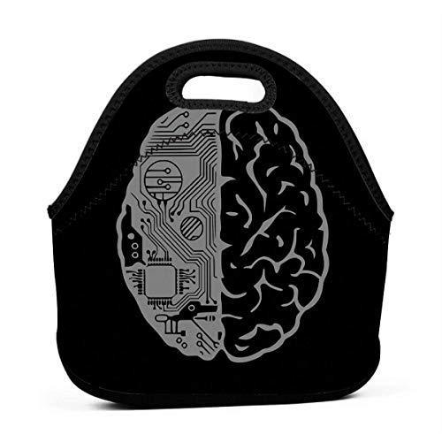 XCNGG Coding Brain In Grey Hombres Mujeres Niños Bolsa de almuerzo aislada Tote Fiambrera reutilizable para trabajo Picnic Escuela