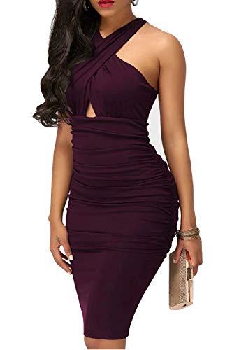 IyMoo Sexy Women Dresses Bodycon - Sexy Club Outfits for Women Elegant Crisscross V Neck Sleeveless Midi Club Dresses Purple (Apparel)