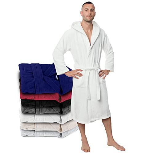 Twinzen Bademantel 100% Baumwolle Kapuze für Herren Oeko TEX Zertifiziert - Morgenmantel 2 Taschen, Gürtel und Schlaufe zum Aufhängen - Weich, Saugfähig und Bequem, L, Weiß
