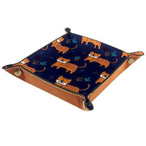 Bandeja de Cuero - Organizador - Tigre Azul Marino - Práctica Caja de Almacenamiento para Carteras,Relojes,llaves,Monedas,Teléfonos Celulares y Equipos de Oficina