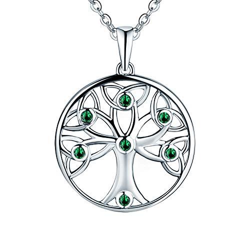 JO WISDOM Halskette Baum Des Lebens,kette anhaenger silber 925 Knoten baum des lebens Anhänger Halskette,Damen Schmuck,kette: 45-50CM (Mai Geburtsstein,Smaragd Farbe)