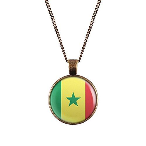 WeAreAwesome Senegal Flagge Halskette - Länderkette mit Fahne Anhänger Unisex Kette Afrika
