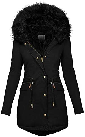 OutTop Womens Quilted Winter Coats Warm Fleece Lined Faux Fur Hooded Zip Up Down Jackets Parka product image