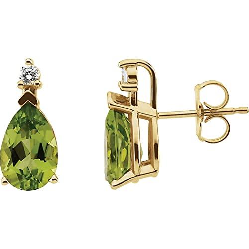 Pendientes de oro amarillo de 14 quilates y diamantes de 0,08 quilates para mujer