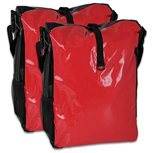 TW24 Fahrradtasche für den Gepäckträger aus LKW-Plane 2 Stück mit Farbauswahl (rot/schwarz)