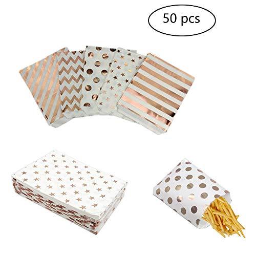 50 Stück,Candy Tüten, Süssigkeiten Beutel, BonBon Taschen, Papiertüten Geschenktüten Papier Papiertüten für Ostern Hochzeit Geburtstag Feier Parteien 5 Designs mit Papiertüten,13 x18 cm