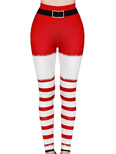 SATINIOR Women Christmas Leggings Footless Ugly Santa Claus Striped Tights Xmas Print Costum (XX-Large/3X-Large)