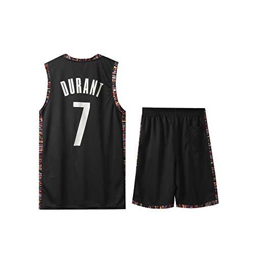 LJWLCH Basketball Jersey Kinder Nr. 7 Sport Ärmelloser Anzug für Kevin Durant Fans Jungen Mädchen Basketball Sportswear School Sommerweste + Shorts 2-teiliges Set-black2-24