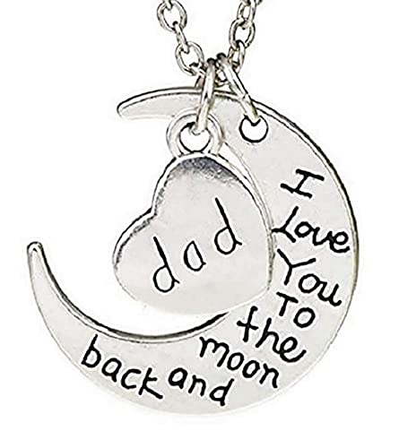 LUIDILUC Collar con diseño de papá e hijos, con corazón de la luna y papá Ti Amo - Dad I'Love You Día del Padre