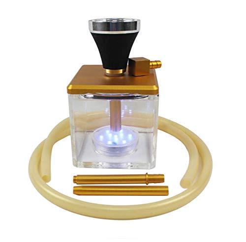 QqHAO Cachimba, Hookah acrílico Transparente Conjunto con luz LED Pipa de Agua Box Incluir silicio Manguera Shisha Pipe,Oro