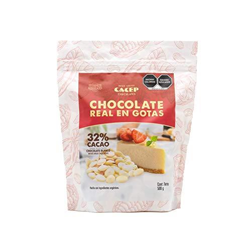 CACEP| Gotas de Chocolate Blanco 32% cacao orgánico 500g | Ideal para Repostería | Suave y Cremoso | Horneables | 100% Mexicano | Sin Gluten