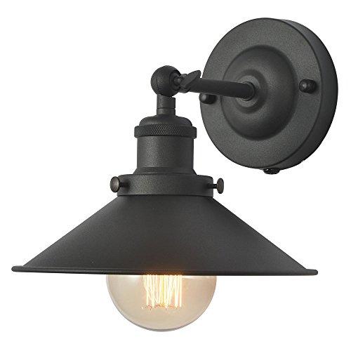 XIDING Premium Retro Industrial Edison Simplicity Metal Wall Sconce Light Fixture?Upgrade Black Finish Shade Vintage Swing Arm Wall Lamp, E26 Base, 1 Light.