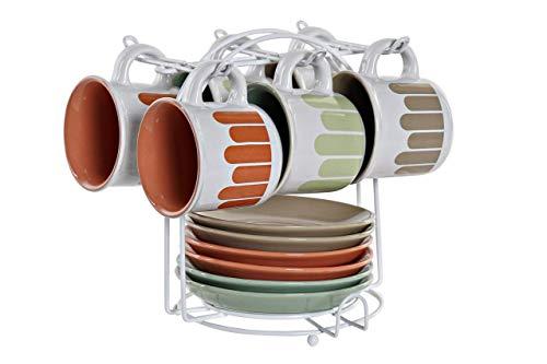 Precioso Juego de 6 Tazas y 6 platos de Cerámica con Soporte Metálico de Diseños Moderno y Actual para Café con leche Te Chocolate –Diseño Original – 130ml – 20x19x18 cm.