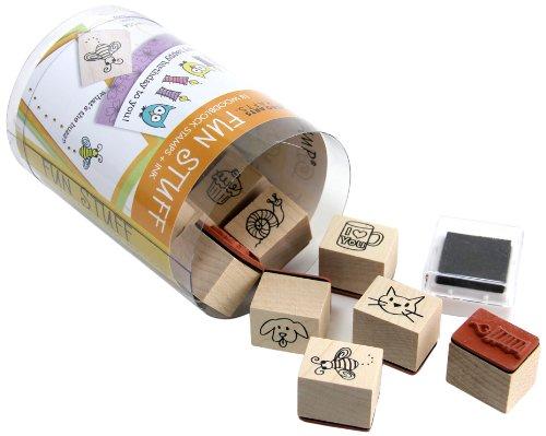 Hero Arts LL330 Fun Stuff Woodblock Stamps and Black Ink Pad Cube Set