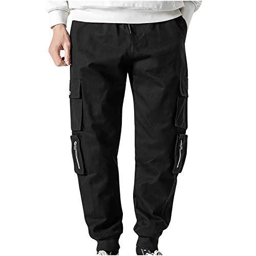 TTivxe Herren Cargohose mit 6 Taschen,Lange Regular Fit Cargo Hose Freizeithose Wanderhose Trekkinghose Outdoorhose(Black,L)