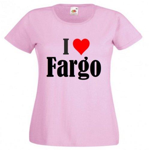 Damen T-Shirt I Love Fargo Größe L Farbe Pink Druck Schwarz