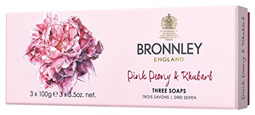 Bronnley Pink Peony and Rhubarb Soap 3 x 100 g by Bronnley
