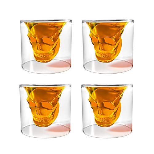 Unique Transparent Skull Shot Glass for Whiskey, Vodka, Cocktail Double Layer Halloween Party Design (4pcs)