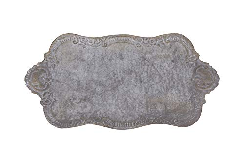 Creative Co-op Decorative Tin Metal Tray with Distressed Finish, 17.75' L x 10.5' W x 1.5' H, Grey