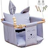 Mass Lumber Grey Cloth Baby Swing Outdoor Indoor Seat Set with Ceiling Hardwares Wooden Toys Secure Belt Baby Hammock Swing Hanging Chair for Infant Little Kid Toddler Baby Tree Swing Porch Backyard