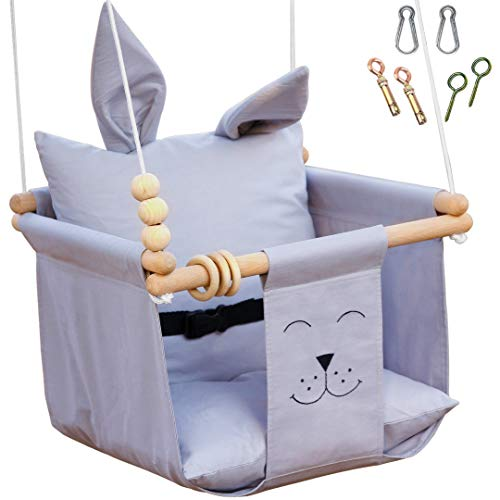 Mass Lumber Grey Baby Swing Outdoor Indoor Seat Set with Belt, Mounting Hardwares, Two Cushions Baby Hammock Hanging Chair for Infants Baby Gift Toddler Fabric Swing for Porch