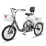 Triciclo para adultos Triciclo Plegable Crucero Plegable Bicis Trikr Bicicleta Adulto Triciclo Plegable Triciclo De Acero Al Carbono Marco Para Compras Ejercicio Recreación Con Cesta De Gr(Size:Negro)