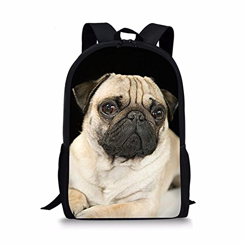 Middle School Student Backpack For Girls Fashion Durable Large School Bag Pug Print
