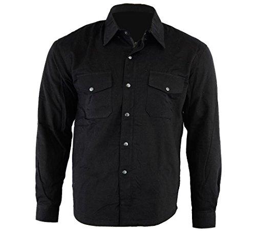 Bikers Gear Australia - Camisa protectora de franela para motocicleta con forro de aramida negro negro large