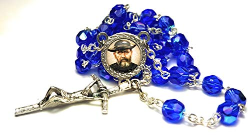 Relic Rosary 3rd Class Crystal Glass Father Damien or Saint Damien of Molokai Patron of People with Leprosy and AIDS Patients Damián de Molokai conocido Como Padre Damián Leprosos y enfermos de SIDA