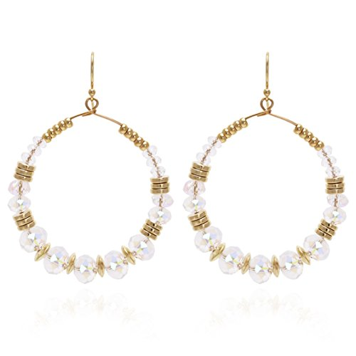 Bonaluna Women's Boho Chic Round Hoop Dangle Drop Earrings Gold Crystal