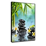 shensu Framed Floral Still Life Canvas Wall Art Zen Spa Stones Green Bamboo Flowers Prints Posters Spring Water Scenic Wall Decor for Living Room Bedroom Bathroom Office Modern Home Decor 8x10inch