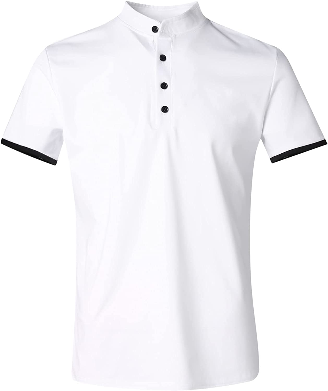 Men's Summer Slim Tee Shirt Henley 3 Button Casual Solid Color Tops Contrast Short Sleeve T-Shirts for Men