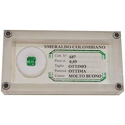 Smeraldo Espertizzato Colombiano Da Investimento Caratura 0.89 Quadrato 1011578