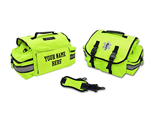 Lightning X Customizable Small Medic First Responder EMT Trauma Bag w/ Embroidered Name Patch - Fluorescent Yellow