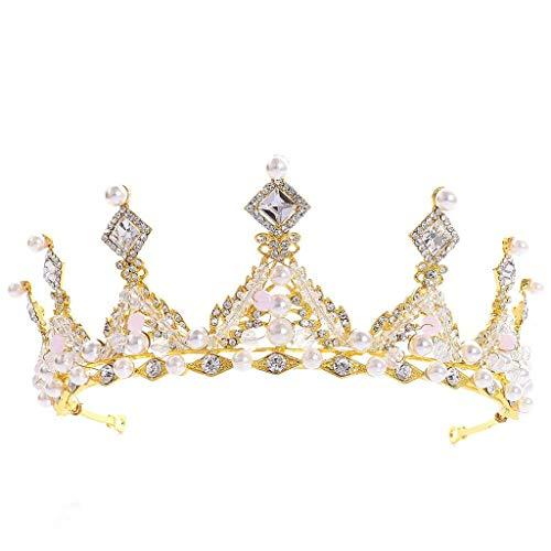 SJYDQ Joyería de la Boda Real Tiara cristalina Coronas de Pelo Nupcial del Desfile Princesa Diadema Color: Tamaño: 16 * 6,2 cm (Color : Blue)