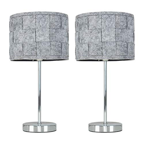 Pair of - Modern Polished Chrome Touch Table Lamps with a Grey Felt Weave Shade
