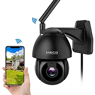 Security Camera Outdoor, MECO 1080P HD Pan/Tilt WiFi Home Surveillance Camera with Waterproof, Motion Detection, Auto Tracking, Night Vision, 2-Way Audio, Compatible with Alexa