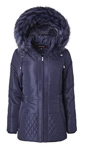 Women Longer Length Plush Lined Quilted Winter Puffer Coat Zip-Off Fur Trim Hood