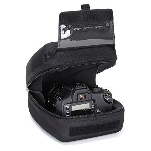 USA Gear Funda Cámara de Fotos Reflex Carcasa rígida y Estuche para Objetivos con Zoom de EVA, Interior Acolchado, Presilla para cinturón y asa de Caucho - Compatible con Nikon, Canon, Sony y más