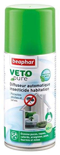 BEAPHAR – VETOPURE – Mini-diffuseur automatique insecticide habitation – Tue les insectes volants, rampants, les œufs et larves – Permets de traiter 60m2 – Protection de 4 mois – 150 ml