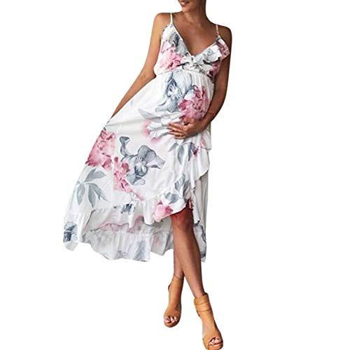 Juliyues Umstandskleid Sommer Damen Blumen Maternity Kleid Ärmellos Schwangeren Kleider Mutterschaftskleid Festliches Stillkleider Hochzeit Umstandsmode