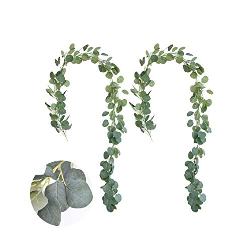 CalmMax 2-Pack Artificial Eucalyptus Garland, Artificial Green Leaf Garland 6.5 FT, Artificial Eucalyptus Garland Ornaments, Suitable for Home, Party, Wedding, Wall Decoration, etc.