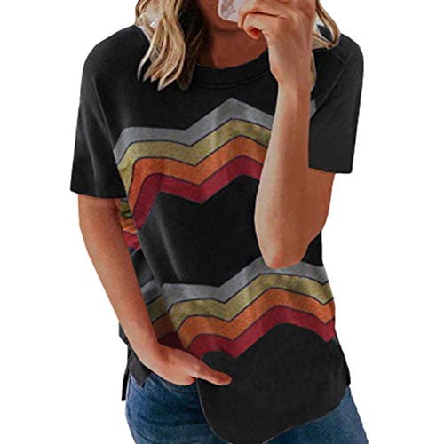 cypressen Camiseta de verano para mujer, parte superior de manga corta, estilo informal, cuello redondo, camiseta de verano, camiseta de manga corta, informal, blusa