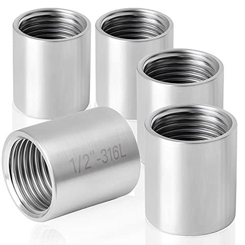 GZcaiyun - 5 casquillos roscados de 1/2' de acero inoxidable, para tuberías, radiadores, instalaciones sanitarias, desagües, tanques de agua y piezas de repuesto