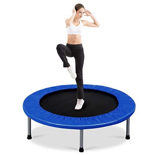 COSTWAY φ97cm Mini Trampolin, Fitness Trampolin faltbar, Kindertrampolin bis 100kg belastbar,...